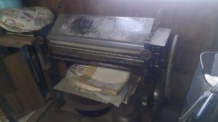 ほぼ処分されてしまった道具の中で、唯一残っていたうどん製造機。かなりの年代物です。